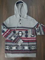 American Eagle Mens Light Hoodie Small Aztec Pattern Kangaroo Pockets Gray Red