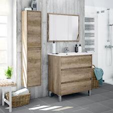 Conjunto mueble de baño con espejo lavabo de ceramica y armario auxiliar de aseo