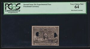 US  25c Experimental Face Fractional Currency Milton#2E25F.3f  PCGS 64 V Ch CU