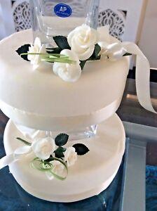 WEDDING CAKE SUGAR ROSES SPRAYS X 2 IN IVORY,