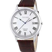 Seiko Classic Quartz White Dial Leather Strap Mens Watch SGEG97P1 RRP £140