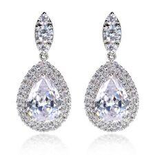 Double Halo Tear Drop Earrings Bridal Jewellery CZ Cubic Zirconia - CRYSTALA