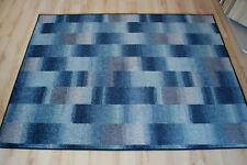 Karo Patchwork Teppich grau blau Velours umkettelt 200x300 cm Teppichboden