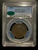 1839 Head of 1838 Coronet Large Cent PCGS VF20 CAC Choice Very Fine One Penny