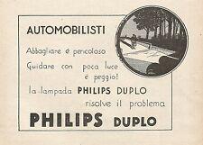 Z0581 Lampada per auto Philips Duplo - Pubblicità del 1930 - Advertising