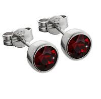 Paar Ohrstecker 925er Silber rhodiniert 5,50mm echt Granat Ohrringen M28