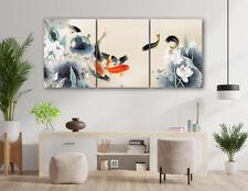 "3Pc 12x16"" Asian Koi Fish Lotus Abstract Wall Decor Art Painting Canvas Unframed"