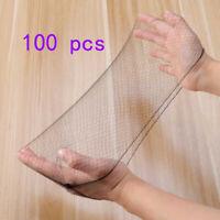 100pcs Black Hair Nets Elastic Edge Mesh Net Stretch Invisible Hairnet Bun Cover