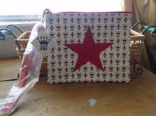 NEW Jessica Kagan Cushman Red Star Fleur de lis Wristlet Women's Handbag