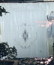 "Vintage Style Battenburg Lace Shower Curtain~Pure Cotton~White~72""*72""~Elegant~"
