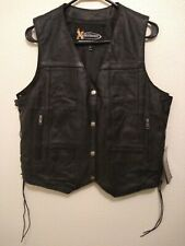 Womens Xelement Button Up Lace Side Leather Motorcycle Vest Size XL NWT