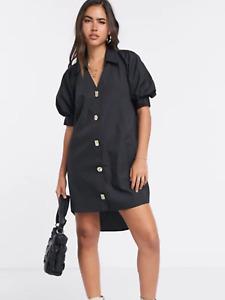 BNWT River Island Button Front Black Puff Sleeve Shirt Dress UK 6