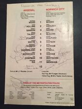 1 Arsenal And 4 Norwich City Signatures On 31/08/1982 Programme