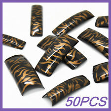 50pcs Gold Black Zebra French False Nail Tips FN0012+1 Free Glue