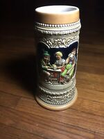 Vintage Budweiser German Tavern Scene Beer Stein Mug Handmade Ceramarte 1976