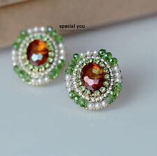 Pendiente`Orejas Pendientes Puntita Dorado Oval Ámbar Verde Mini Perla Clase
