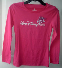 WALT DISNEY WORLD GIRLS LONG SLEEVE PINK T-SHIRT SIZE L ~FRONT MICKEY ~ #28 BACK