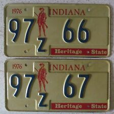Indiana 1976 CONSECUTIVE NUMBER License Plates HIGH QUALITY # 97Z 66 & 97Z 67
