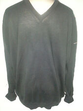 BURBERRY Golf Mens V-Neck Pullover Sweater Size Black Extra Fine Merino Wool