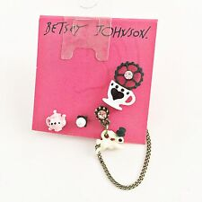 NWT Betsey Johnson Alice In Wonderland Rabbit Teacup Mismatched Chain Earrings