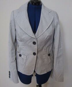 Banana Republic Denim & Ivory Striped Button Up Fitted Jacket Blazer Size 6