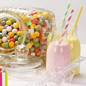 4 x Mini Milk Bottles with Lids Plastic Vintage Style Party Wedding Picnics Kids