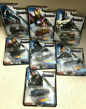 2019 Hot Wheels Marvel AVENGERS  Character Cars Complete Set of 7 Die Cast 1:64
