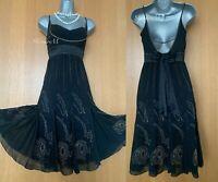 KAREN MILLEN UK 10 Black Silk Beaded Embellished Downton Flapper Cocktail Dress