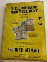 Road Map Southern GERMANY 1950s for Allied Forces 1:500000