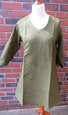 Fabindia Indian Cotton Olive/Khaki Green Pintuck Tunic/Kurta. Size XL BNWT