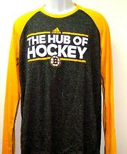 Boston Bruins Adidas NHL Dassler Long Sleeve Gray / Gold T-Shirt Adult Large Tee