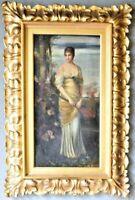 Die Lautenschlagerin Antique Portrait Oil on Canvas Painting After F. Kaulbach