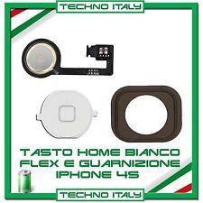 FLAT FLEX TASTO HOME BUTTON CON MEMBRANA per IPHONE 4S BOTTONE BIANCO WHITE