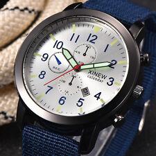 New Men's Stainless Steel Date Quartz Sport Wrist Watch Waterproof Watches Blue