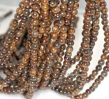 6MM TOFFEE BAR BRONZITE GEMSTONE BROWN ROUND 6MM LOOSE BEADS 16""
