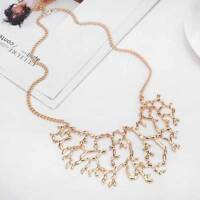 Fashion Women Vintage Jewelry Bib Coral Branch Pendant Chain Statement Necklace