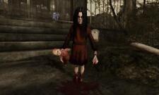 Old Print.  Scary Freak Halloween Girl - blood, doll, knife