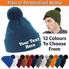 Personalised Pom Pom Cuffed Beanie Woolly Knit Ski Bobble Hat Embroidery Stitch