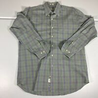 Peter Millar Button Up Shirt Size Adult Large Plaid Blue Long Sleeve Casual Mens