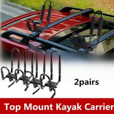 2 Pairs Top Mounted Roof Kayak Rack Carrier Canoe Boat Surf Ski SUV Car J Bar US