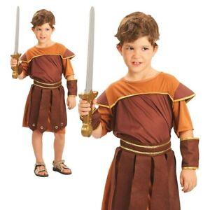 Roman Soldier Costume Boy Gladiator Warrior Book Day Child Fancy Dress Kids