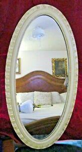 Mid-Century Modern Carolina Mirror Company Oval White Framed Mirror 45.5 x 23.5