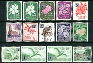Norfolk Is 1966 Decimal Currency Overprints set of 14 Mint Unhinged