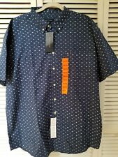Tommy Hilfiger Men's NWT Navy with white Button Up Short SLeeve Shirt XXL