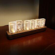 DIY Acrylic Led Nixie Clock -Wood Case - USB Powered - Golden Yellow LED