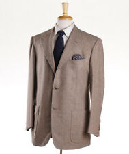 NWT $3995 D'AVENZA Oatmeal Tan Melange Flannel Wool Suit 42 R Classic-Fit
