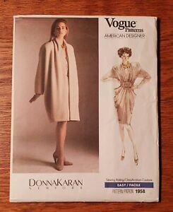 Vogue Donna Karan Vintage 1958 Misses' Coat and Dress - Size 6 Uncut