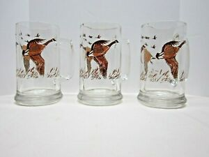 Vintage Glass Mugs with Geese