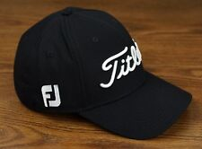 Titleist Golf Dobby Tech Lightweight Fitted Hat Cap Black White S/M NEW