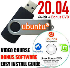 Ubuntu Linux 20.04 Focal Fossa Linux Live Install 16 GB USB With BONUS DVD Disc